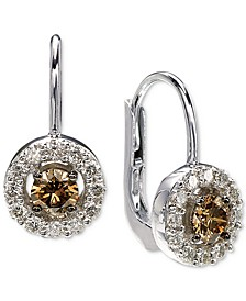 Diamond Halo Drop Earrings (7/8 ct. t.w.) in 14k White Gold
