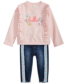 First Impressions Baby Girls Ruffled Sweatshirt & Embroidered-Trim Jeans, Created for Macy's