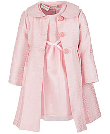 Blueberi Boulevard Little Girls 2-Pc. Button-Front Coat & Dress Set