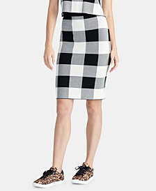 RACHEL Rachel Roy Pull-On Gingham Sweater Skirt