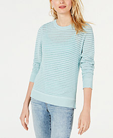 I.N.C. Open-Knit Crewneck Sweater, Created for Macy's