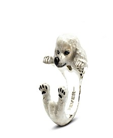Poodle Hug Ring in Sterling Silver and Enamel