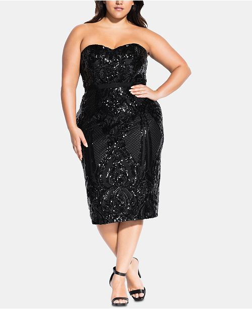 City Chic Trendy Plus Size Sequined Strapless Dress ...