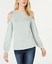 I.N.C. Embellished Cold-Shoulder Sweatshirt, Created for Macy's