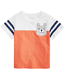 First Impressions Baby Boys Colorblocked Bear Pocket T-Shirt, Created for Macy's