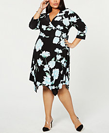 I.N.C. Plus Size Floral Hanky-Hem Wrap Dress, Created for Macy's