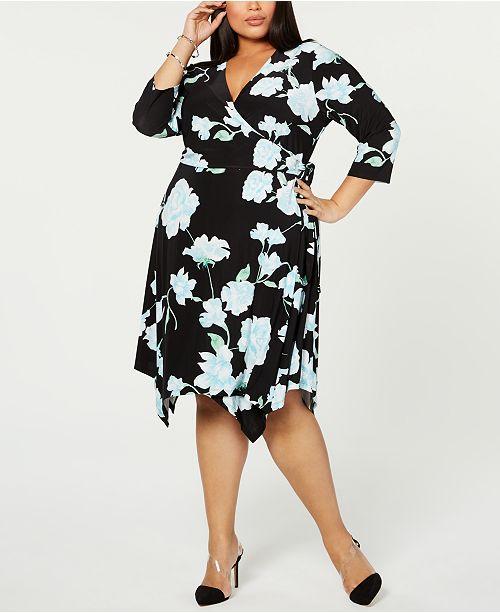 INC Plus Size Floral Hanky-Hem Wrap Dress, Created for ...
