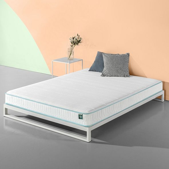 Zinus Mint Green 6 Inch Hybrid Spring Mattress / Firm Support Delivered in a Box, Full