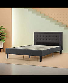 Zinus Upholstered Tufted Center Platform Bed Frame- Strong Wood Slat Support, Full
