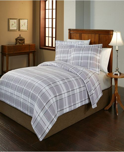 Pointehaven Jensen Print Luxury Size Cotton Flannel Duvet Set Full Queen