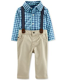 Carter's Baby Boys 2-Pc. Cotton Plaid Bodysuit and Suspender Jeans Set