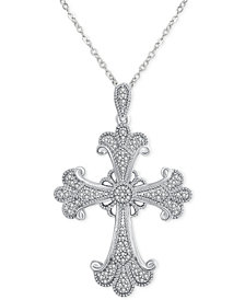 "Diamond (1/6 ct. t.w.) Flourish Cross 18"" Pendant Necklace in Sterling Silver"