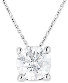 "Diamond Solitaire 18"" Pendant Necklace (1 ct. t.w.) in 14k White Gold"