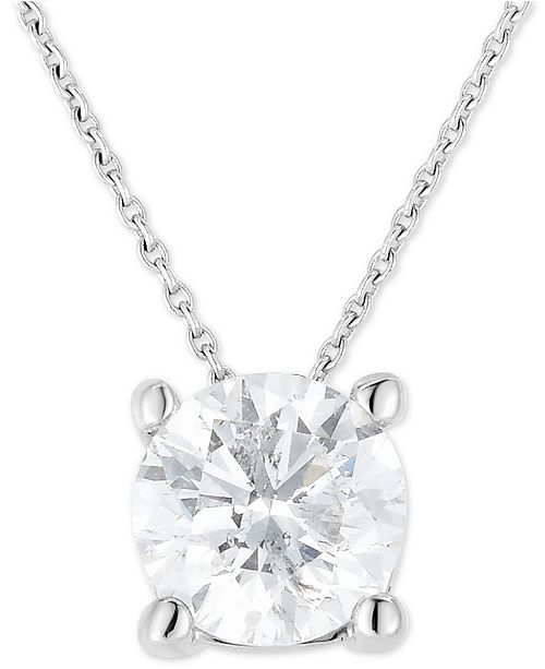 """Macy's Diamond Solitaire 18"""" Pendant Necklace (1 ct. t.w.) in 14k White Gold"""