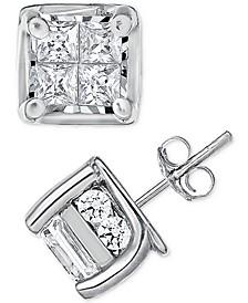 Diamond Quad Stud Earrings (1 ct. t.w.) in 14k White Gold