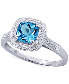 Blue Topaz (9/10 ct. t.w.) & Diamond Accent Ring in 14k White Gold (Also Available In Garnet, Mystic Topaz & Amethyst)