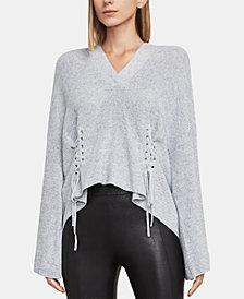 BCBGMAXAZRIA Cotton Lace-Up Hoodie