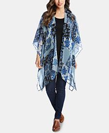 Karen Kane Sheer Patchwork-Print Kimono