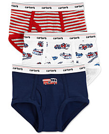 Carter's Little & Big Boys 3-Pk. Firetrucks & Stripes Cotton Briefs