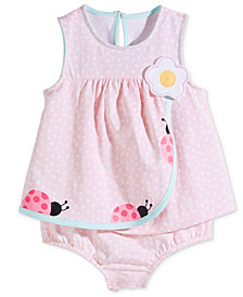 First Impressions Baby Girls Ladybug Cotton Skirted Romper, Created for Macy's