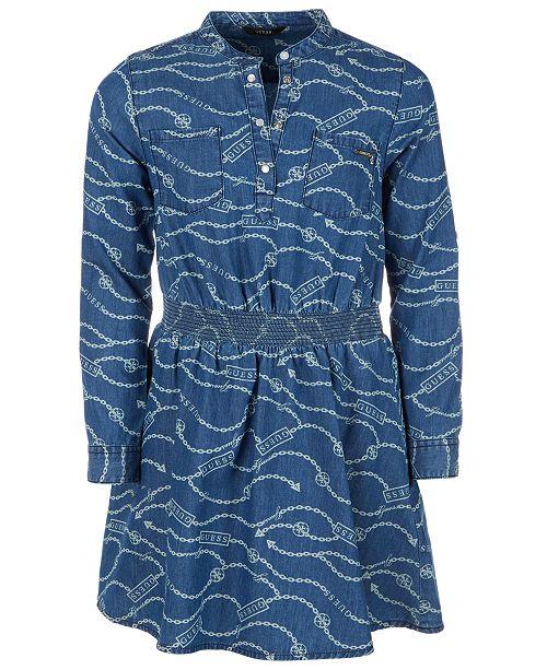 GUESS Big Girls Printed Cotton Denim Dress