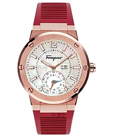Ferragamo Men's Swiss F-80 Motion Burgundy Rubber Strap Hybrid Smart Watch 44mm
