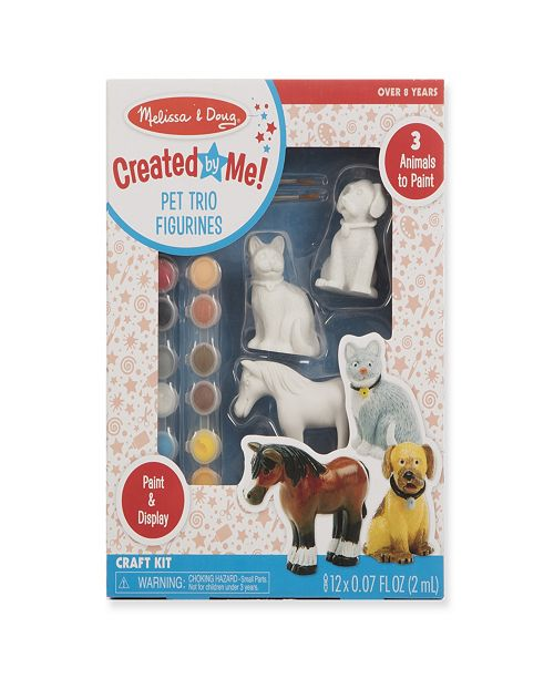Melissa and Doug Melissa & Doug Created by Me! Pet Figurines Craft Kit (Resin Dog, Cat, Horse, 12 Paints, 2 Brushes)