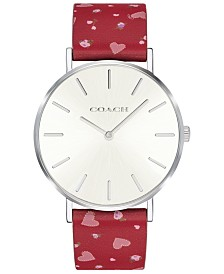 COACH Women's Perry Red Leather Printed Strap Watch 36mm Created for Macy's