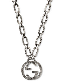 "Gucci Interlocking G 23-1/2"" Pendant Necklace in Sterling Silver, YBB52489000100U"