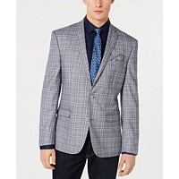 Deals on Bar III Mens Active Stretch Slim-Fit Plaid Sport Coat