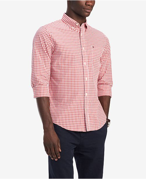 fd05aafd7 ... Tommy Hilfiger Men's Classic-Fit Twain Gingham Shirt, Created for  Macy's ...