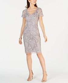 Adrianna Papell Petite Short-Sleeve Beaded Sheath Dress