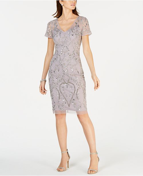 Adrianna Papell Petite Short-Sleeve Beaded Sheath Dress