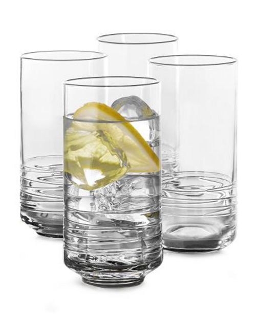 Hotel Collection Set of 4 Large Highball Glasses with Cording, Created for Macy's
