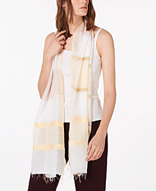 Eileen Fisher Striped Fringe-Trim Scarf