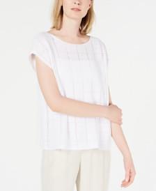 Eileen Fisher Organic Linen Pointelle-Knit Sweater Top