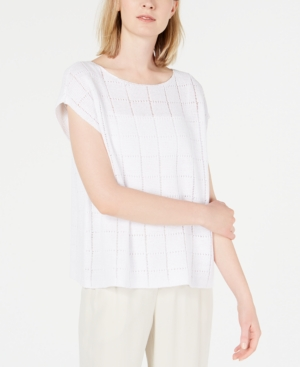 Eileen Fisher Petite Textured Organic Linen Cap-Sleeve Sweater In White