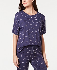 Ultra Soft Core Printed Short Sleeve Pajama Shirt, Created for Macy's