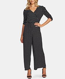 CeCe Dot-Print Ruched-Sleeve Jumpsuit