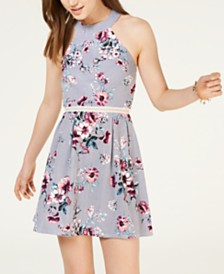 Crystal Doll Juniors' Printed Fit & Flare Dress