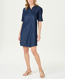 Karen Scott Petite Cotton Chambray Shirtdress, Created for Macy's