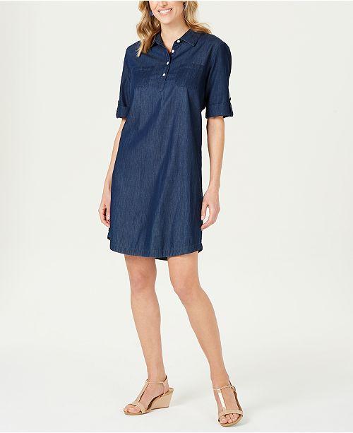 Karen Scott Petite Cotton Chambray Shirtdress, Created for Macy's