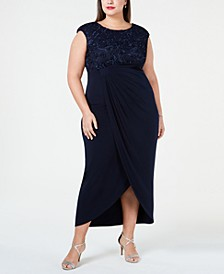 Plus Size Soutache Faux-Wrap Dress