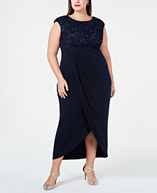 Connected Plus Size Soutache Faux-Wrap Dress