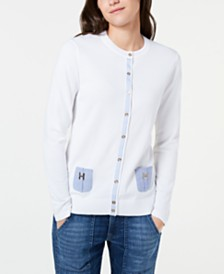 Tommy Hilfiger Cotton Chambray-Pocket Cardigan, Created for Macy's