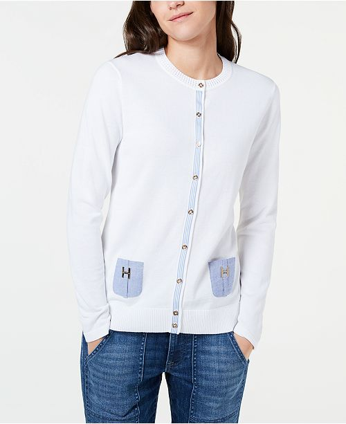 beec0ef7b8 ... Tommy Hilfiger Cotton Chambray-Pocket Cardigan