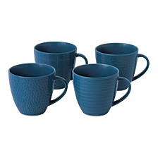 Royal Doulton Exclusively for Maze Grill Mixed Blue Mugs, Set of 4