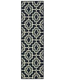 """Oriental Weavers Marina 1491Z Black/Gray 2'3"""" x 7'6"""" Indoor/Outdoor Runner Area Rug"""