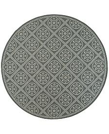 """Oriental Weavers Marina 3969L Gray/Ivory 7'10"""" Indoor/Outdoor Round Area Rug"""