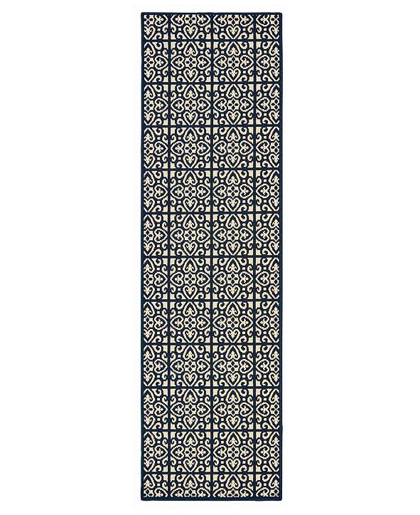 """Oriental Weavers Marina 5927B Ivory/Navy 2'3"""" x 7'6"""" Indoor/Outdoor Runner Area Rug"""